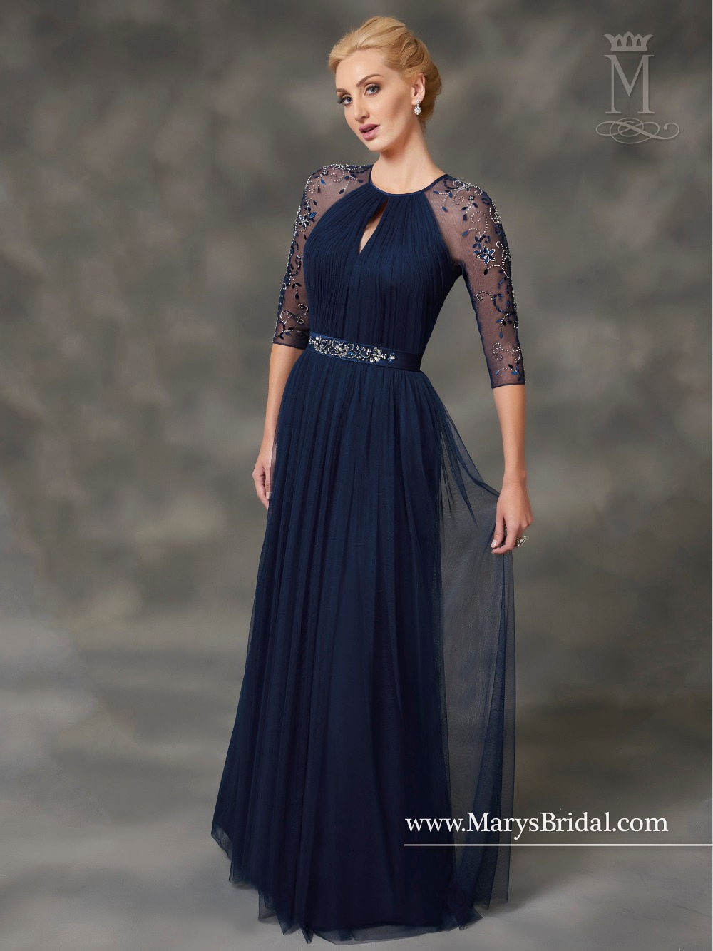 Long Mother of the Bride Dress 2017 scoop sheer tulle sleeve with ...