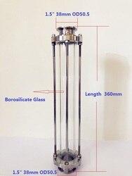 Mirilla de cristal de alta calidad de estilo largo 1,5 (38mm) OD50.5 Dioptr longitud 360mm mirilla de cristal SS304 instalación sanitaria