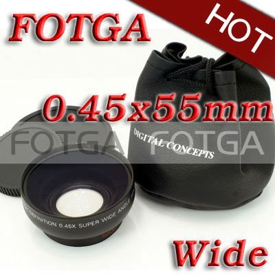 Wholesale Fotga 55mm 0.45x Wide Angle & Macro Conversion Lens 0.45x 55 For CANON NIKON SONY 52MM LENS