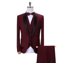 MOGU New Men's Casual Suits British Style Mens Suit High Quality 2019 Mens Fashion Tailor Slim Fit Blazer Wedding Men Suit 3pcs(China)