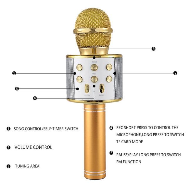 geekoplanet.com - Professional Glowing Bluetooth Wireless Karaoke Microphone