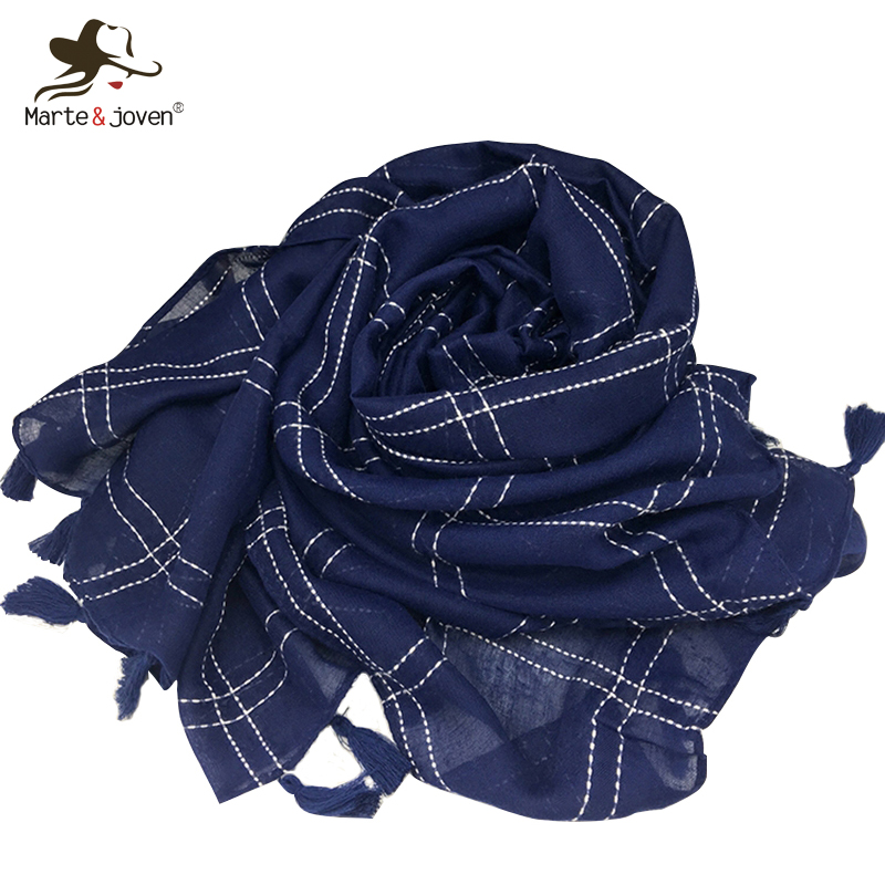 Marte&Joven Classic Plaid Embroidery Cotton Pashmina Scarves For Women Autumn/Winter Solid Thicken Navy Blue Long Shawls Wraps
