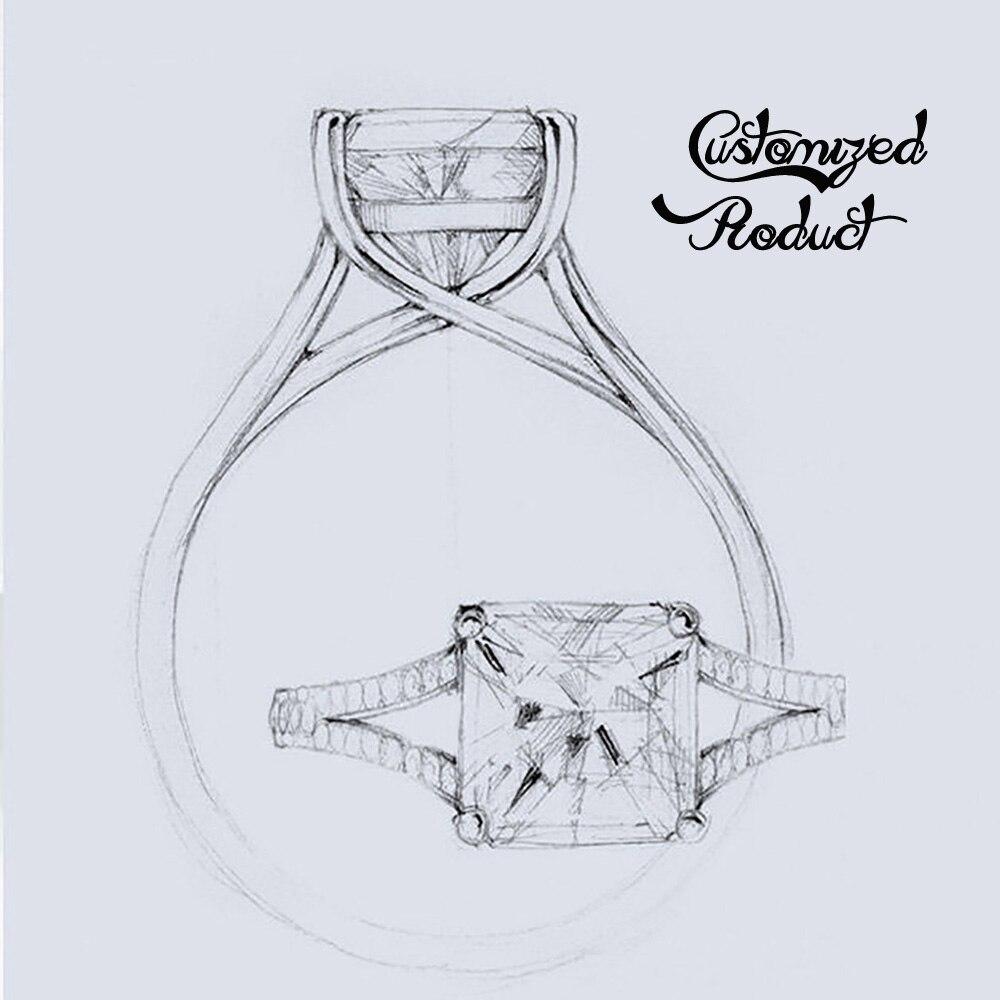 DovEggs Vintage solide 14 K 585 deux tons or Center 1.5ct 7.5mm F couleur Moissanite anneau d'anniversaire avec des Accents pour les femmes