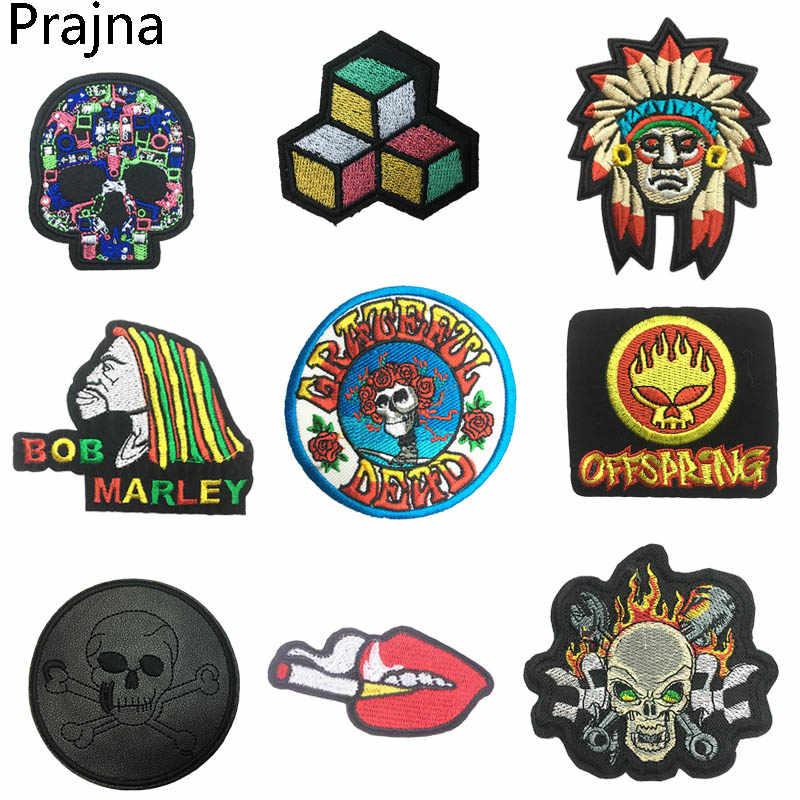 Prajna Hippie Bob Marley Patch Stalker ปักแพทช์ Biker เหล็กบนแพทช์สำหรับเสื้อผ้าลายชิลีแพทช์หนัง