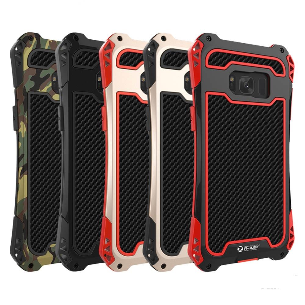 imágenes para AMIRA Armadura de Fibra De Carbono Del Metal De Aluminio Caso de la Cubierta A Prueba de Golpes para Samsung N5 S5 S6 S7 S7 S6 Edge Borde S8 S8 Más Caja Del Teléfono