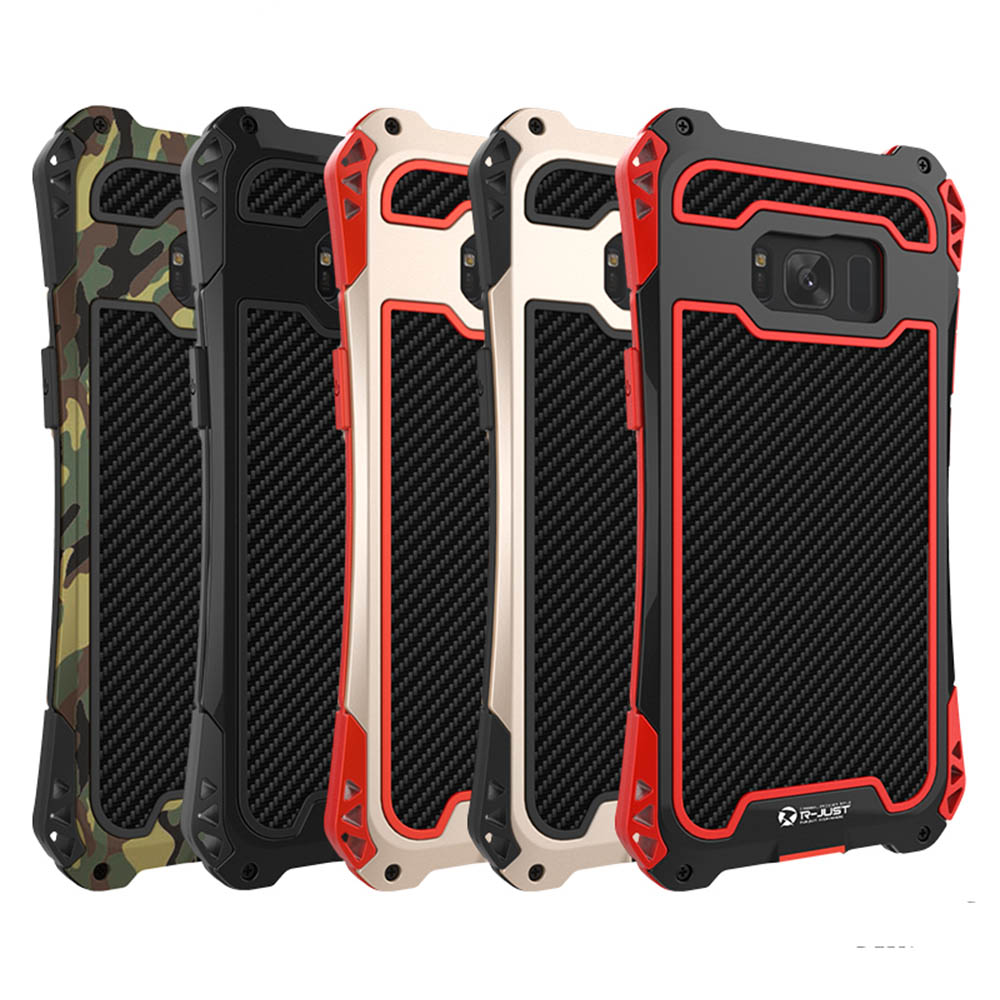 bilder für AMIRA Rüstung Kohlefaser Metall Aluminium Stoßfest Abdeckung Fall für Samsung N5 S5 S6 Edge S7 S7 Rand S8 S8 Plus Telefon Fall