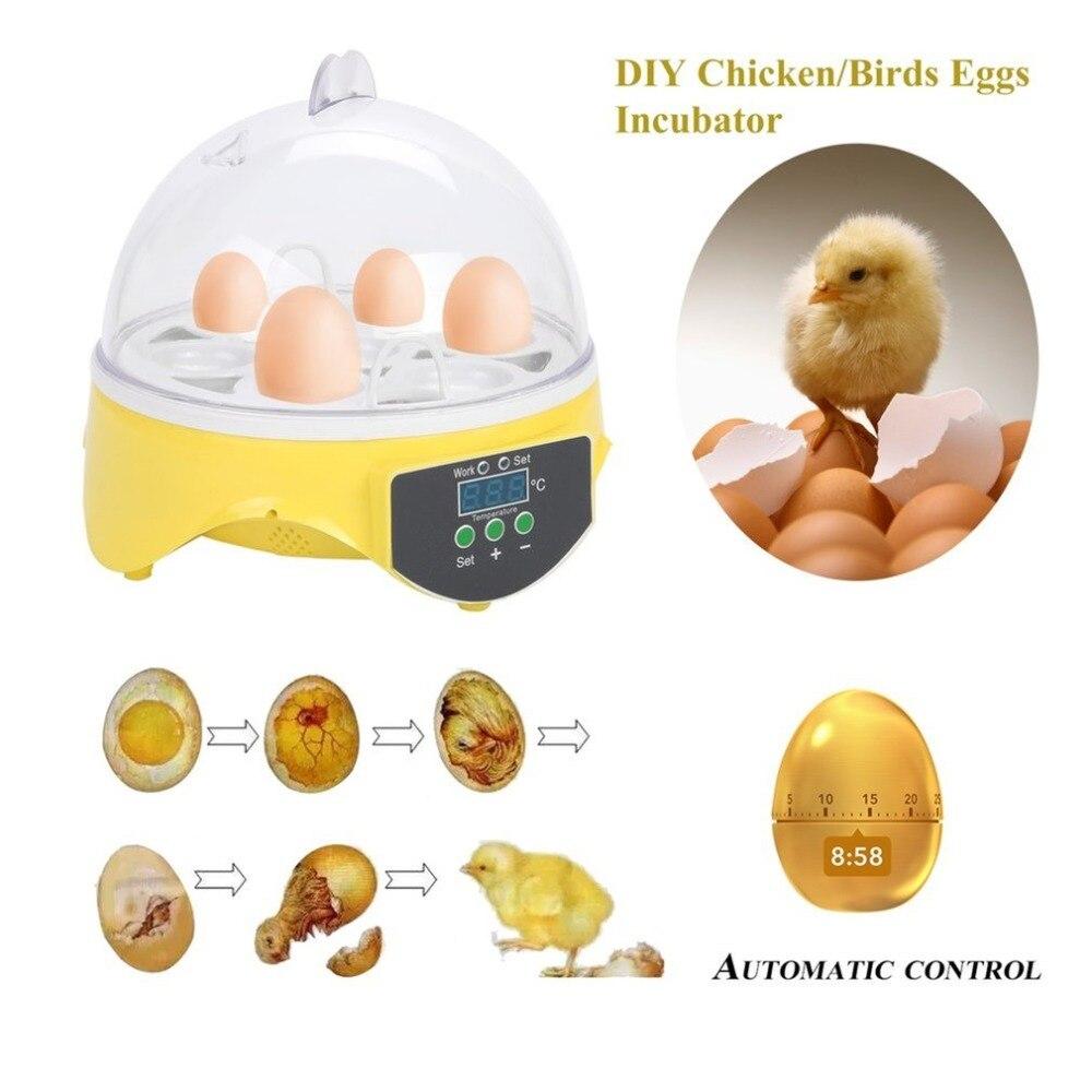 Mini 7 Eggs Incubator Poultry Eggs Incubator Egg Rack Tray Automatic Intelligent Control Quail Temperature Hatchery Tool EU Plug