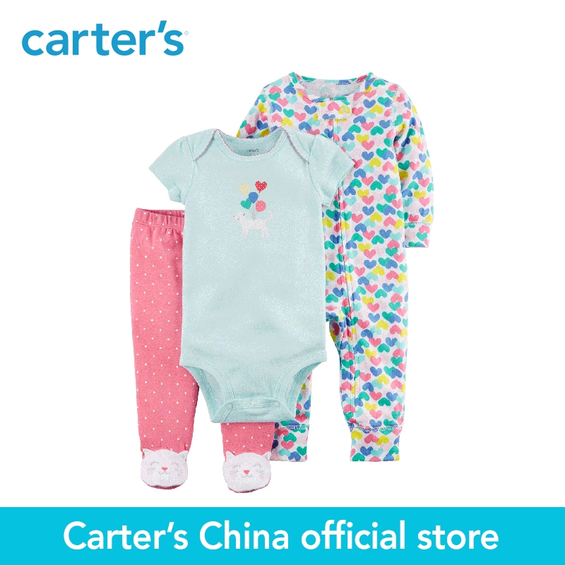 Carter's 3-Piece baby children kids clothing Girl Spring & Fall Cotton Kitty Sleep & Play Set 126H332 sleep professor spring love