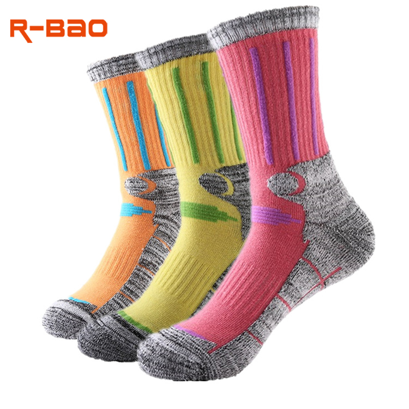 R-Bao 2 Pairs / Lot Outdoor Hiking Socks Men Women Warm Cotton Snow Skiing Trekking Mountaineering Running Sports Socks W15