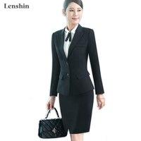 Lenshin 2 pieces set Black Knee Length skirt suits New women career blazer & skirt office Lady Jacket Autumn Wear