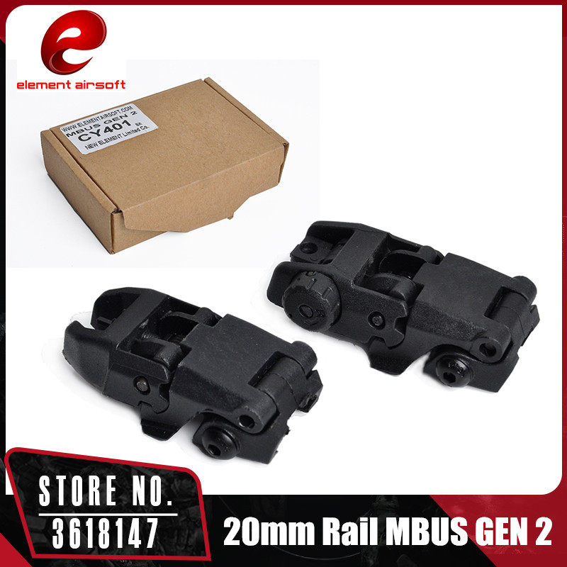 Element 2 Pcs 20mm Rail GEN 2 Tactical Folding Anteriore Di Sostegno Di Vibrazione Attrazioni Buis Set Flip-up Sight CY401