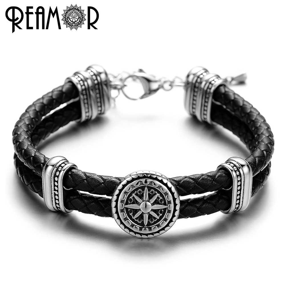 REAMOR 316L Stainless Steel Compass Charms Bracelet Trendy Bracelets Double Braided Leather Rope Bangles Men Jewelry