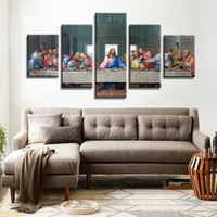 the main wall art pictures living canvas painting by numbers. Unframed 5 pieces. the last supper of jesus christ