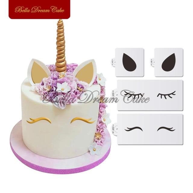 4pcs/set Unicorn Eyes Ears Cake Side Stencil Animals Stencils Party - unicorn template