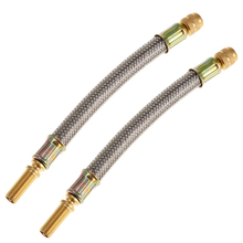 2X Flexible Braided Stainless Steel Tyre Valve Stem Extension Adapter 150mm Reliable Durable