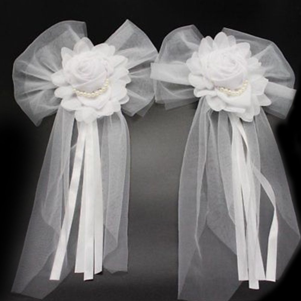 1pcs White Pearl Silk Yarn Ribbon Bow Tie Flower for Holiday Wedding Party Bridal Car Chair Back Decoration DIY Accessories