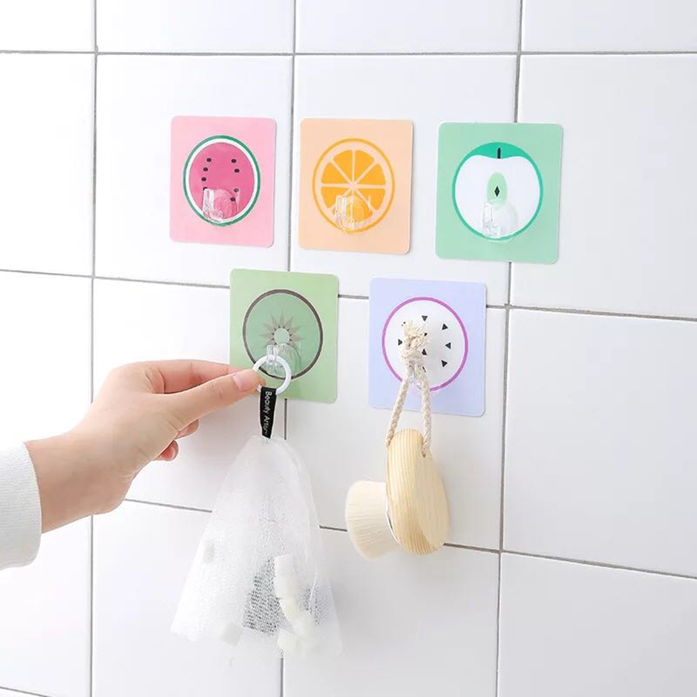 Self Adhesive Fruit Clothes Hanger Wall Mounted Coat Hook Decorative Key Holder Hat Scarf Handbag Storage Hanger Bathroom Rack