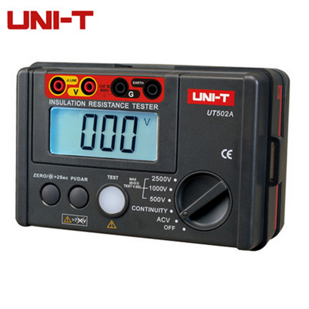 UNI-T UT502A 2500V Insulation Resistance Testers Megohmmeter Voltmeter Continuity Tester megger w/LCD Backlight Diagnostic-tools uni t ut501b insulation resistance testers auto range lcd backlight high voltage indication