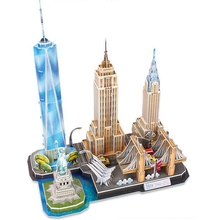 Classic Jigsaw City Statue of Liberty New York USA Empire State Puzzle Brick Toys scale Style Models Sets World Building