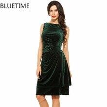 Bluetime винтажное платье женские летние drap спереди для клубной вечеринки модные бархатные Туника Сарафаны зеленый черный роковой XXL 30A