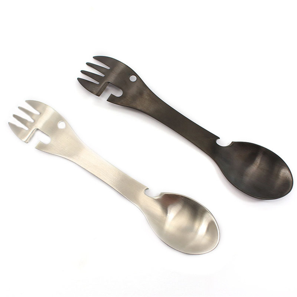 5 In 1 Multi-functional Outdoor Tools 304 Stainless Steel One Fork And Spoon Outdoor Portable Tableware Fruit Fork Spoon Camping