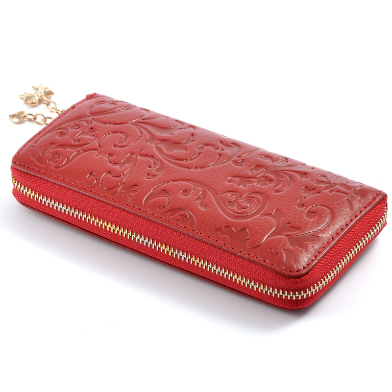 New Fashion Flower Genuine Leather Women Long Wallets High Quality Female Luxury Brand Clutch Girl Ladies Gift Cash Purse Hot