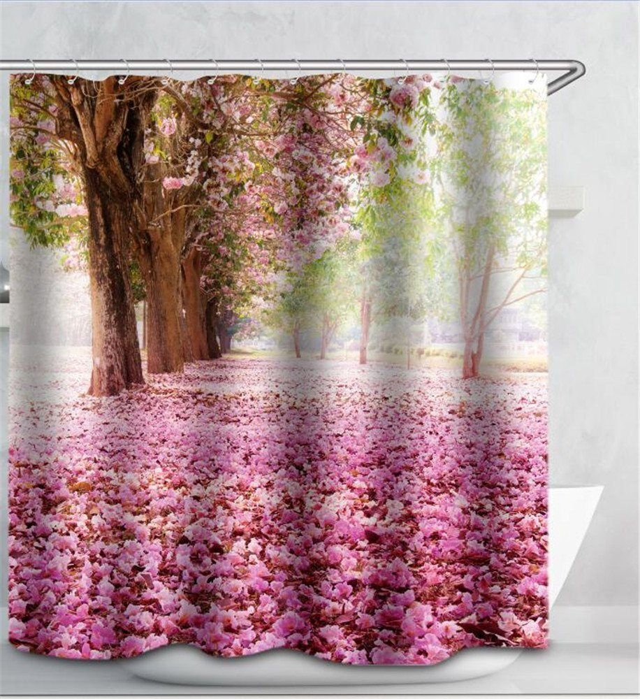 Romantic shower curtain - Aliexpress Com Buy Zhh Romantic 3d Nature Environment Scenery Shower Curtain Water Resistant Polyester Bathroom Gadget 180 X 180cm With Hooks From