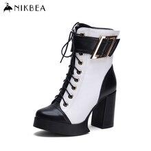 2016 Nikbeaแบรนด์รองเท้าข้อเท้าส้นสูงรองเท้าหนังแท้ผู้หญิงแพลตฟอร์มรองเท้าฤดูหนาวสุภาพสตรีB Ootiesเซ็กซี่สีดำและสีขาว