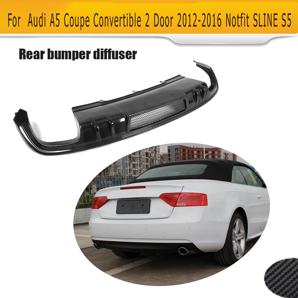 Carbon Fiber Rear Bumper Extension <font><b>Diffuser</b></font> Spoiler for <font><b>Audi</b></font> <font><b>A5</b></font> 2012 - 2016 Coupe 4 Door <font><b>Sportback</b></font> Convertible Non S Line S5 image
