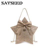 2019 Sparkling Five pointed Star Bag Sweet Lady Butterfly Knot Single Shoulder Chain Wrapped Korean Style Fashion Bag