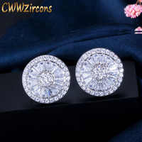 CWWZircons New Fashion Brand Jewelry Silver Color Full Cubic Zirconia Pave Setting Round Piercing Stud Earrings for Women CZ307