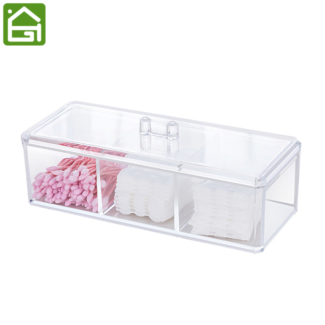 Clear Acrylic Makeup and Jewelry Organizer Cotton Swabs Makeup