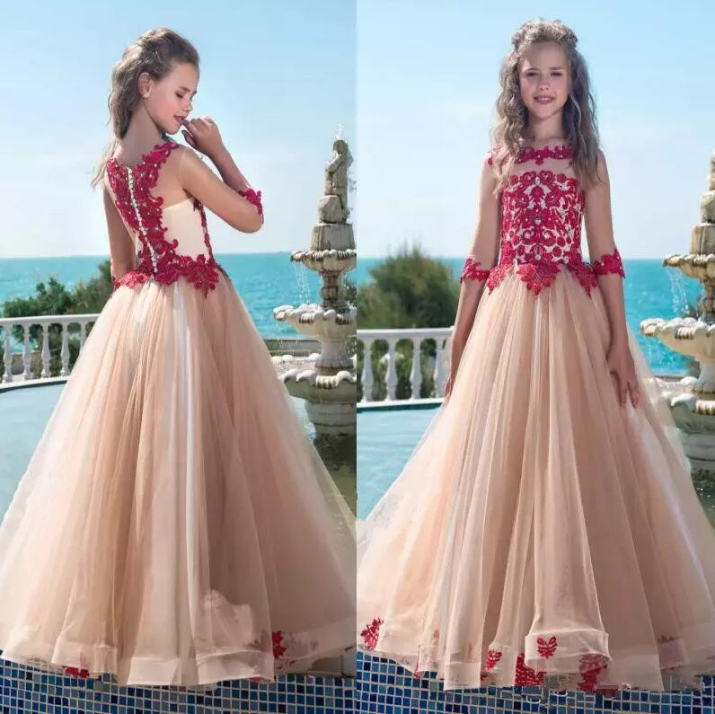 2018 New Girls Pageant Dresses with Red Appliques A Line Sheer Half Sleeves Long Flower Girl Dresses Kids Formal Birthday Gown