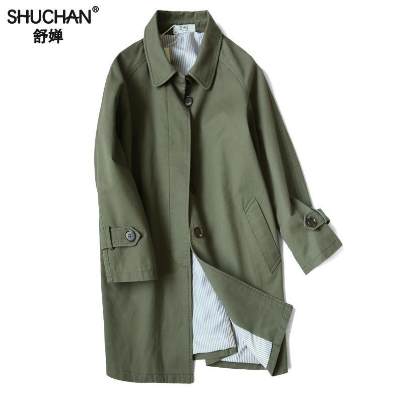 Shuchan 2019 Casual   Trench   Coat Casaco Feminino Single Breasted Wide-waisted Female Coat Long Spring Green White Long Sleeve