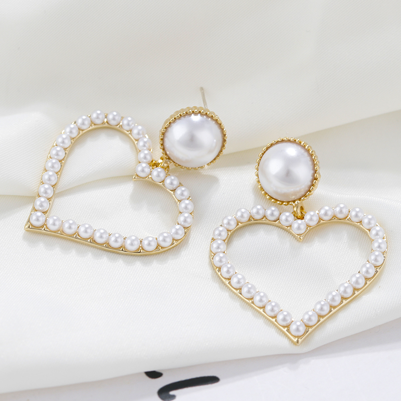 AENSOA Trendy <font><b>Elegant</b></font> Pearl Heart Crystal <font><b>Drop</b></font> <font><b>Earrings</b></font> For Women 2020 <font><b>Gold</b></font> Silver Color Hollow Dangle <font><b>Earrings</b></font> Wedding <font><b>Jewelry</b></font> image