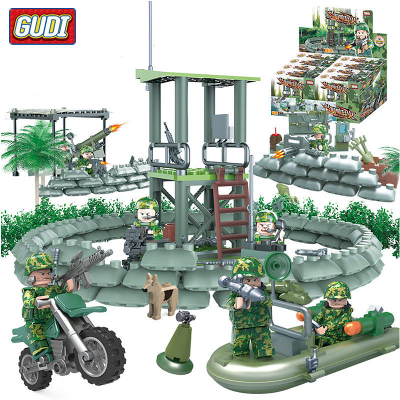GUDI 4 in 1 Military Soldier Model Building Blocks Toys for Children Army FireWire SWAT Action Figure DIY Bricks Gift 237pcs/set xinlexin 317p 4in1 military boys blocks soldier war weapon cannon dog bricks building blocks sets swat classic toys for children