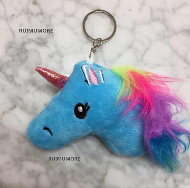 1 шт случайный супер мило новый маленький единорог плюшевые игрушки, малый ключ крюк кулон детский чучело лошади плюшевые игрушки
