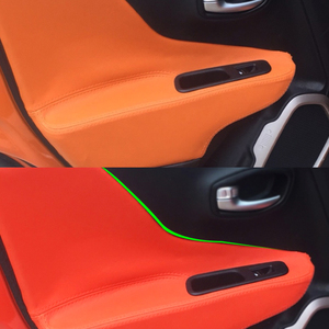 Image 1 - Dla Jeep Renegade 2015 2016 2017 4 sztuk/zestaw klamka do drzwi samochodowych Panel podłokietnik skóra z mikrofibry pokrywa