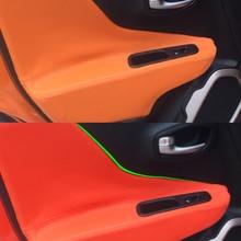 For Jeep Renegade 2015 2016 2017 4pcs/set Car Door Handle Armrest Panel Microfiber Leather Cover