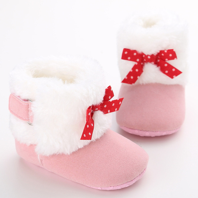 Winter Soft Bottom Cotton Plush Baby Thicken Keep Warmer Boots Girls Boys Bowknot Newborn Infant Toddlers Shoes