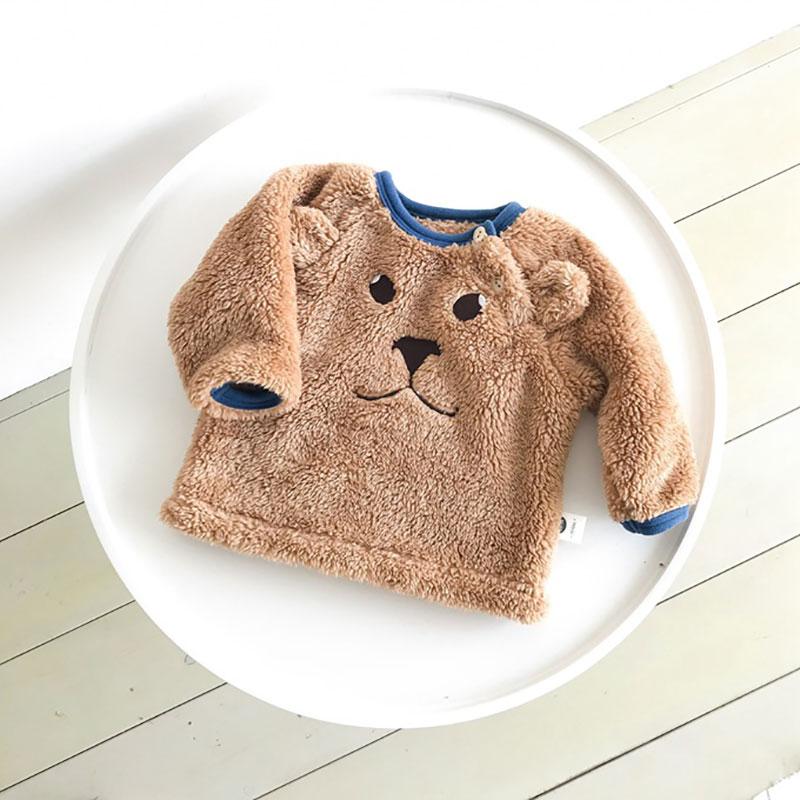 Newborn Baby Sweater 18 Winter Fleece Baby Clothing Children's Top Cartoon Embroidered Fleece Bottoming Boy Girl White Sweater недорго, оригинальная цена