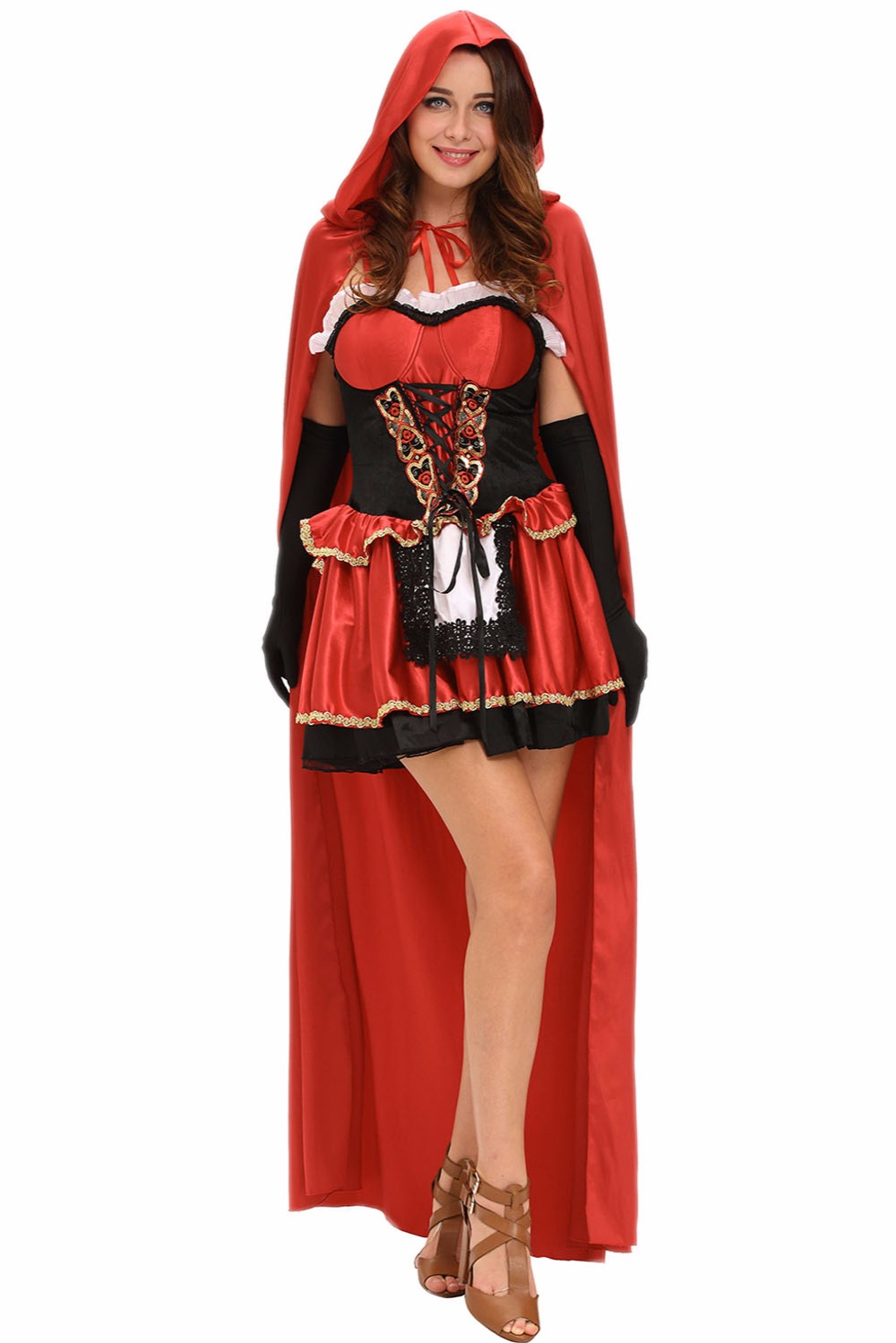new 2016 party adult costumes funny naughty fantasia three piece fairy tale little red costume halloween cosplay lc8992 - Halloween Naughty Costumes