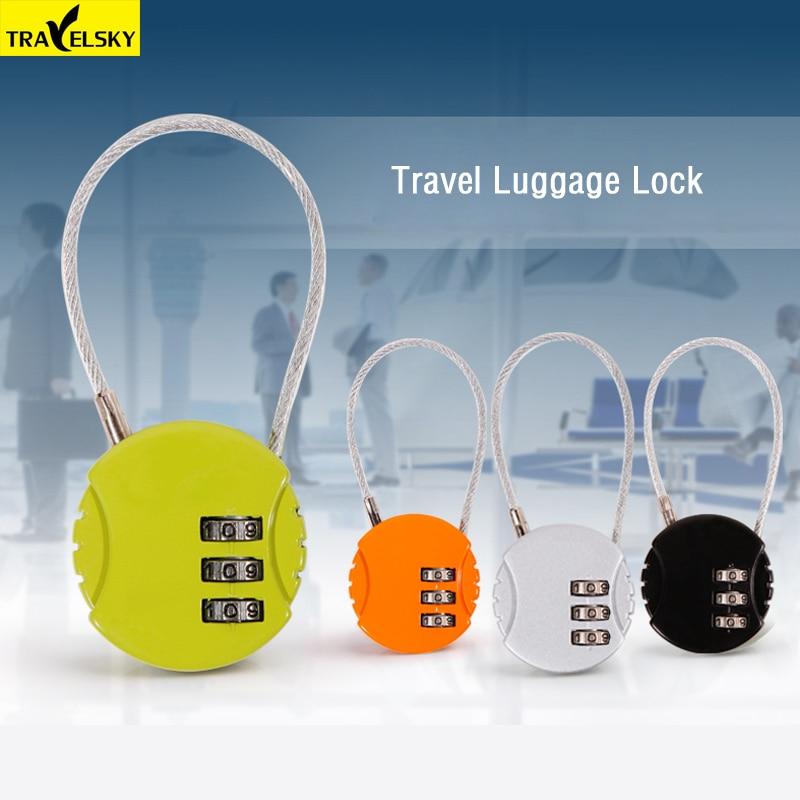 Travelsky Brand Travel Luggage Suitcase Lock Resettable 3 Digit Combination Password Code Metal Lock Padlock Long Steel Wire