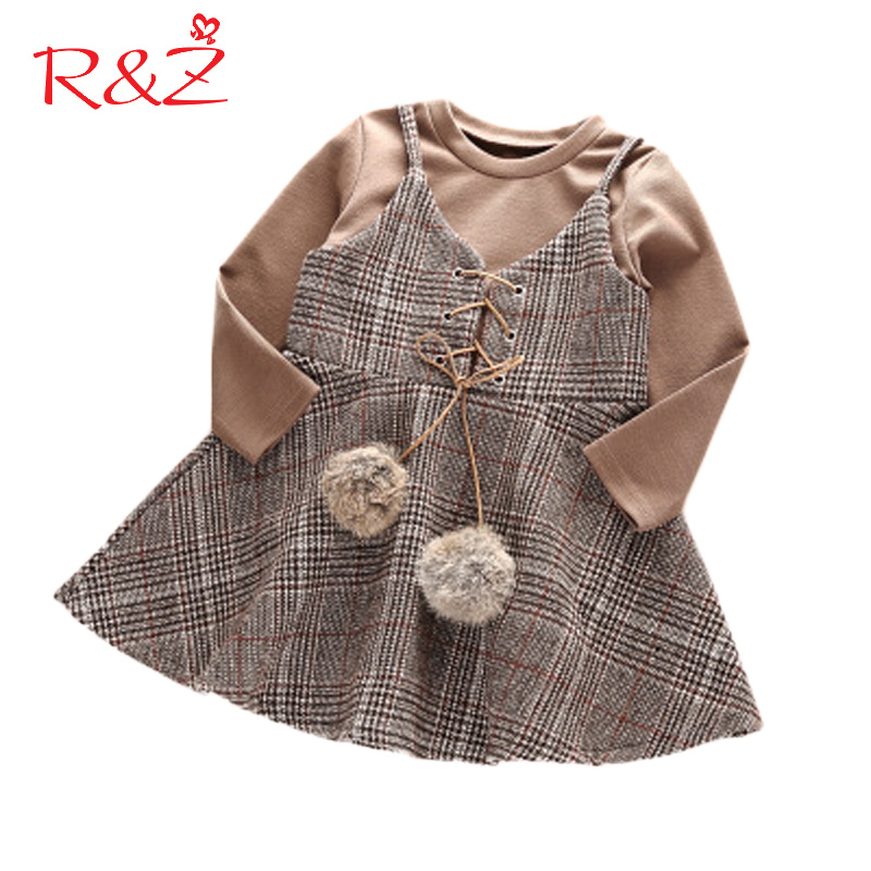 R&Z Baby Girls Clothes Set 2017 Autumn Long Sleeve Cotton Top T-Shirt + Sling Short Skirt Baby 2PCS Kids Children's Clothing Set 2017 summer new children baby girl clothing denim set outfits short sleeve t shirt overalls skirt 2pcs set clothes baby girls