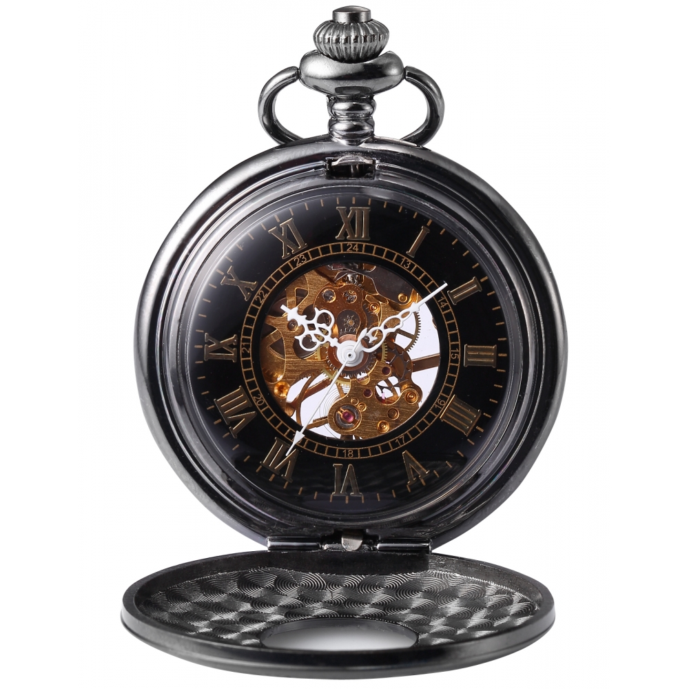 Vintage Retro Mechanical Hand Winding Roman Analog Black Skeleton Pendant Mens FOB Clip Chain Pocket Watch Jewelry Gift / WK891 retro double face roman numerals skeleton smooth back mechanical pocket watch pendant men women with chain fob watches xmas gift