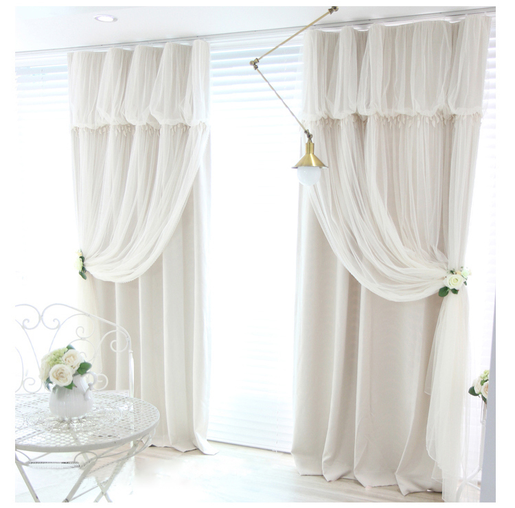 Tassels head top blackout curtain (curtain+voile sheer tulle) Best Children's Lighting & Home Decor Online Store