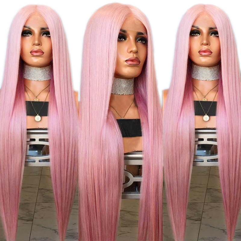 Charisma Natural Silky Straight Hair Pink Wig Middle Part Synthetic Lace Front Wig for White Women