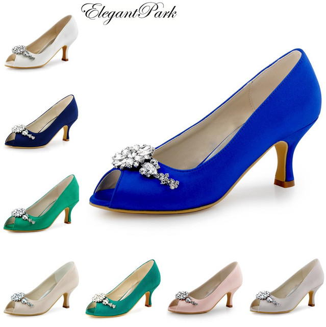 Woman Blue Wedding Bridal Mid Heels Pumps crystal Satin Bride ...