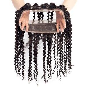 """Image 5 - Bling saç Kinky kıvırcık 360 dantel Frontal kapatma ile bebek saç doğal renk perulu % 100% Remy 13*4 İnsan saç kapatma 8 """" 22"""""""