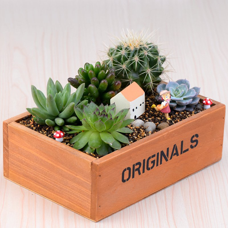 New Decorative Flower Vase Rectangle Box Wood Flowerpot